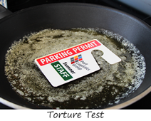 Parking permit hang tags withstand high heat