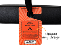 Parking permit hanger with custom design