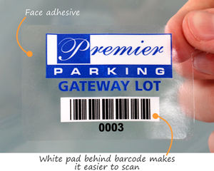 Parking permit sticker with a barcode