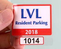 Parking permit sticker with white background