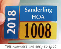 Parking permit stickers with tall numbers
