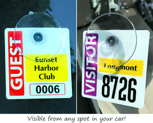 Suction cup parking permit for inside the window