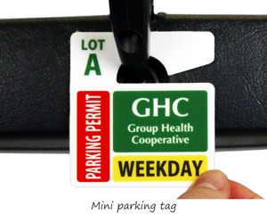 Parking tag design for a health center