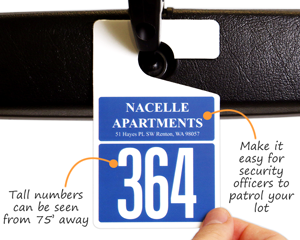 Parking tags with large letters