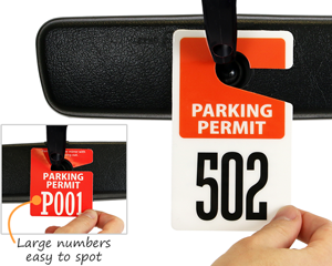 Permit hang tags with large numbers