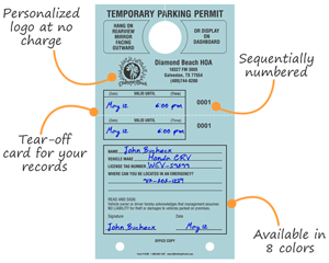 Personalized Temporary Parking Hang Tags - with Tear-Off Stub