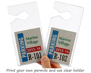Print your own parking permits and use clear holders with mirror hanger hook
