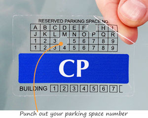 Punch out parking space permit decal