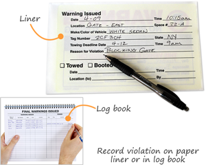Record parking violations on paper liner or handy log book