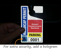 Reflective hang tag with hologram makes tags difficult to counterfeit