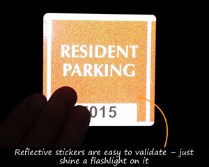 Reflective parkign sticker for residents