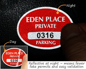 Reflective parking permit decals for mirrors