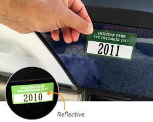 Reflective parking permit stickers for bumpers