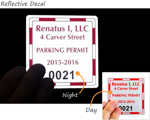 reflective parking permit stickers