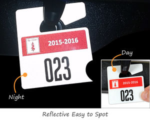 Reflective parking permit tags