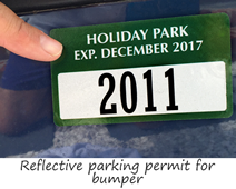Reflective parking permits for bumpers