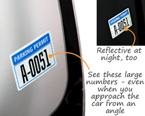 Reflective parking sticker is a customer favorite