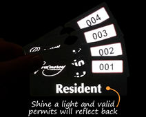 Reflective parking tags are easy to valideate
