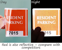 Translucent red of parking sticker is reflective, too!