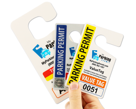 Samples of parking hang tag materials