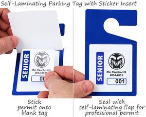 Self-laminating parking permit hang tags