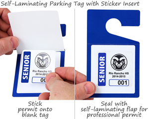 Self-laminating parking permit hang tags