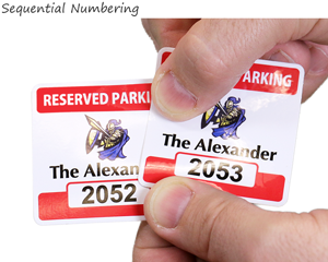 sequentially numbered parking permit decals