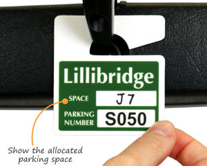 Small hang tag with your parking space