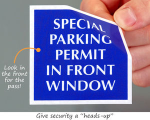 Special handicapped parking permit sticker to look in the front