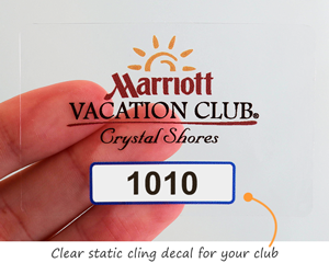 Static cling parking sticker for a club