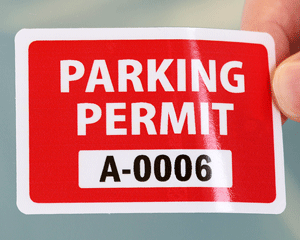 Stock parking permit sticker