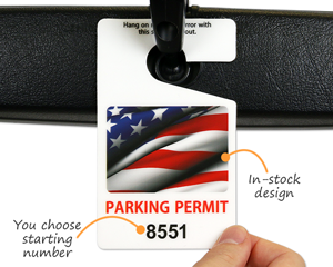Stock parking tags with American flag