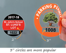 Two different sizes of parking permit stickers