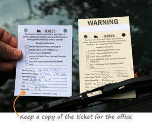 Two part parking tickets