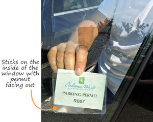 Vinyl parking permit holder on the inside of the window