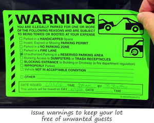 Warning illegally parked sticker