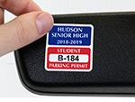 Custom Parking Permit Mirror Decals
