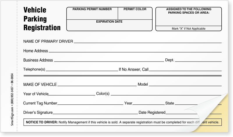 NCR 2-Part Vehicle Parking Registration Form, SKU - BK-0054