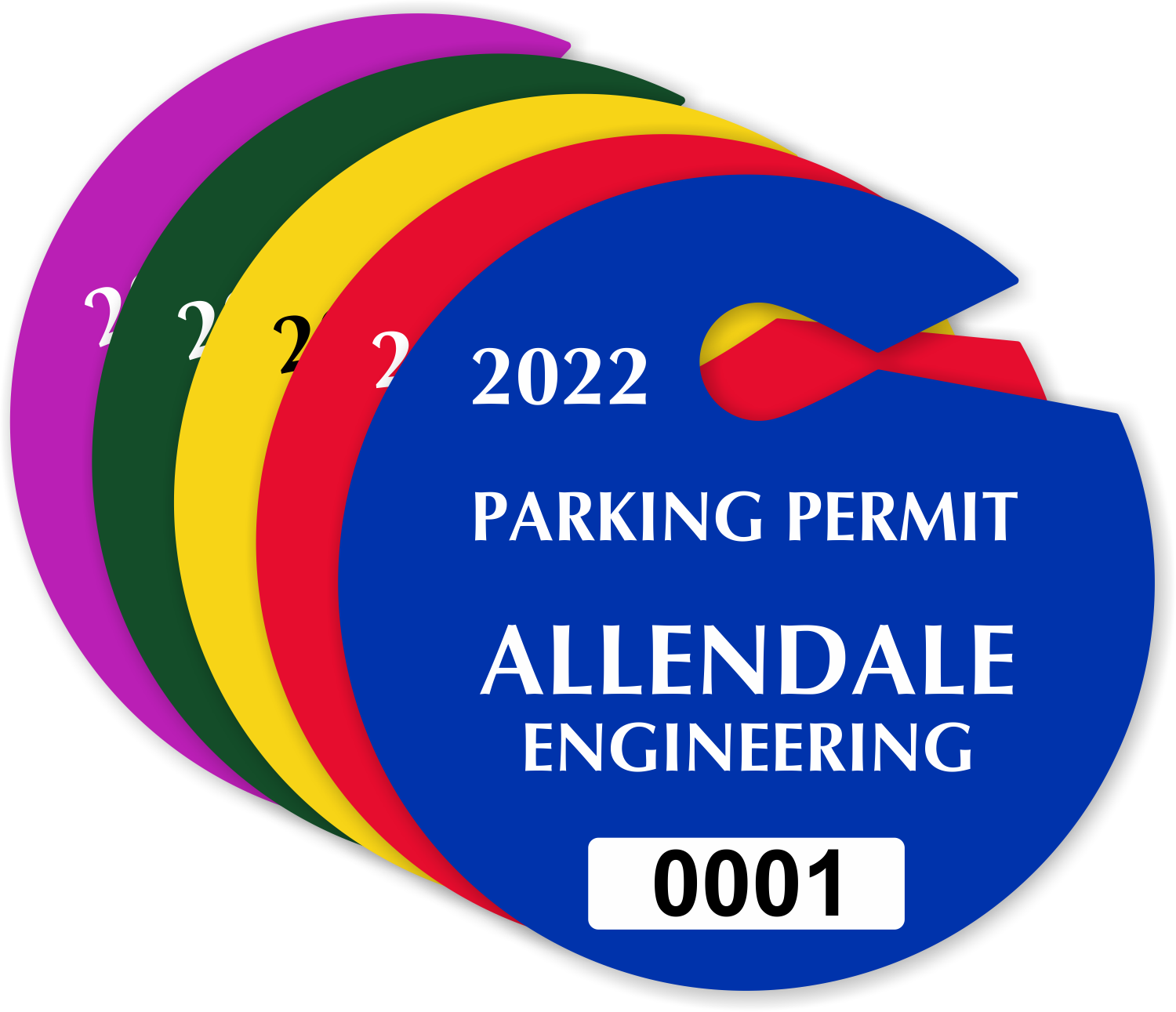 Circular Custom Parking Permit Hang Tags For Rear View Mirror