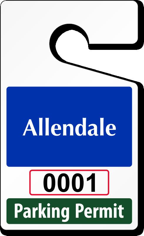 "parking permit template Custom Parking Tag Designs – 5"" x 3"""