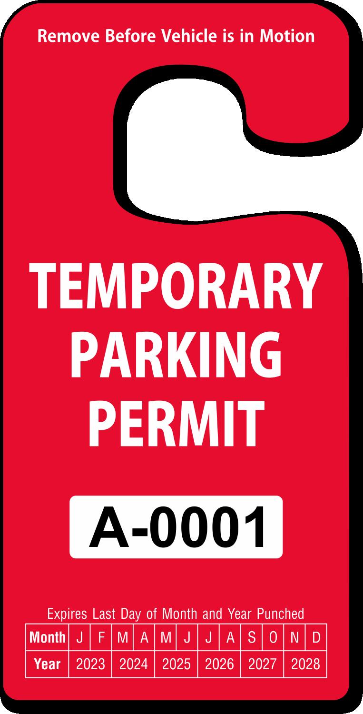 Temporary Parking Permit Rearview Mirror Jumbo Hang Tag, SKU