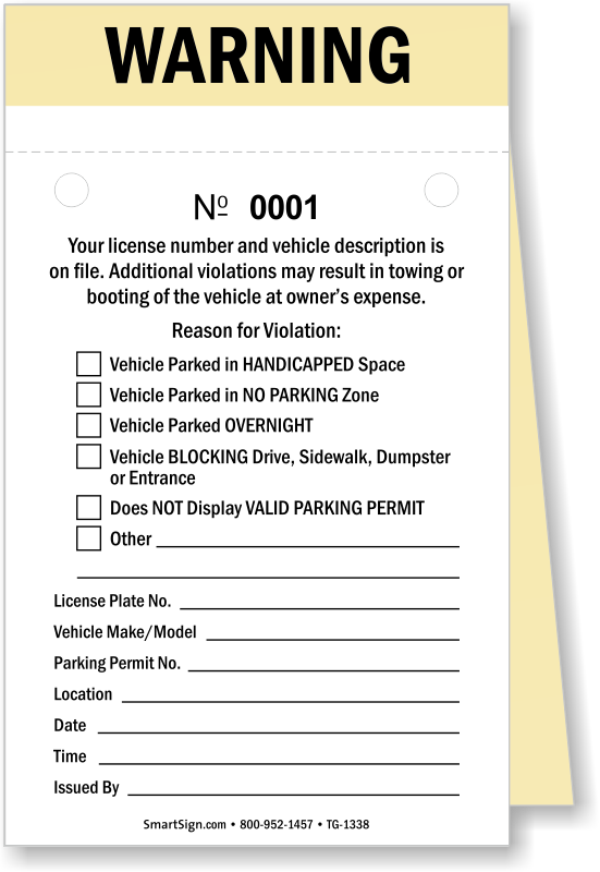 NCR 2-Part Manila Warning Parking Ticket with Perforation Signs, SKU