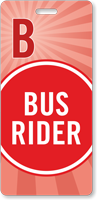 Bus Rider Pass Backpack Tag for Schools
