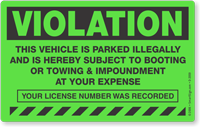Violation Vehicle Parked Illegally Booting Sticker