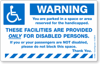 Reserved Handicapped Parking Sticker