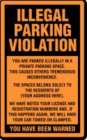 Custom Illegal Parking Violation Label, Add Your Address