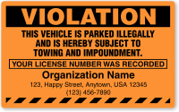 Custom This Vehicle Is Parked Illegally Violation Label