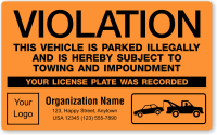 Custom This Vehicle Is Illegally Parked Violation Label