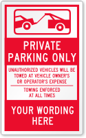 Custom Private Parking Only Label, Add Your Working