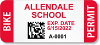 Custom School Bike Permit Decals with 2D Barcode